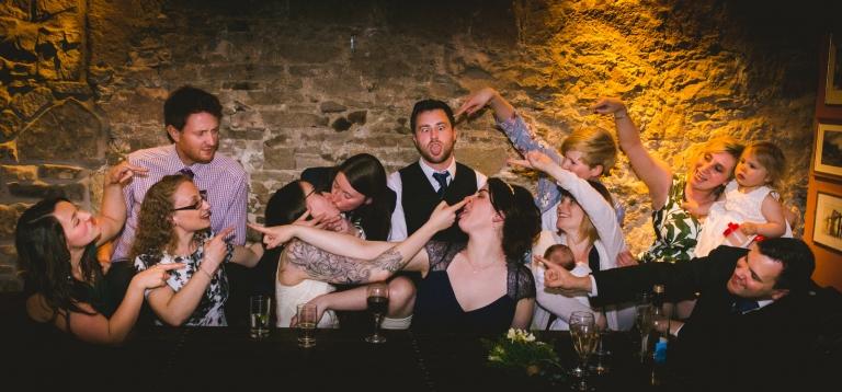 wedding group photo having fun
