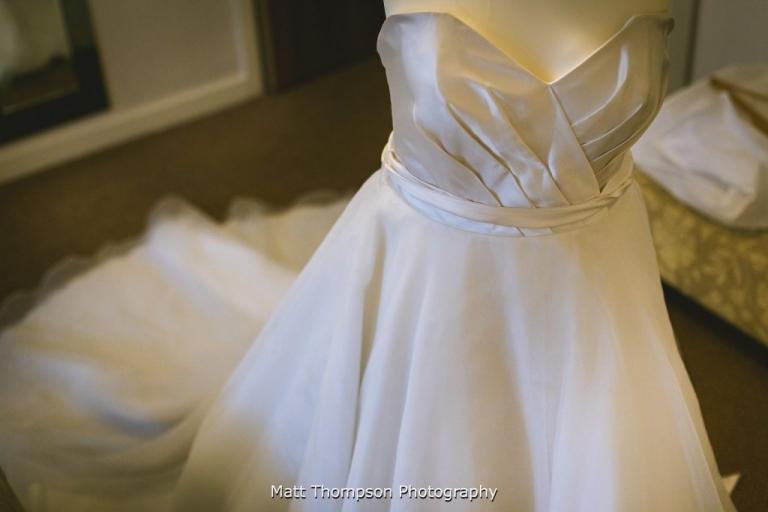 wedding dress hungup at tower house hotel halifax