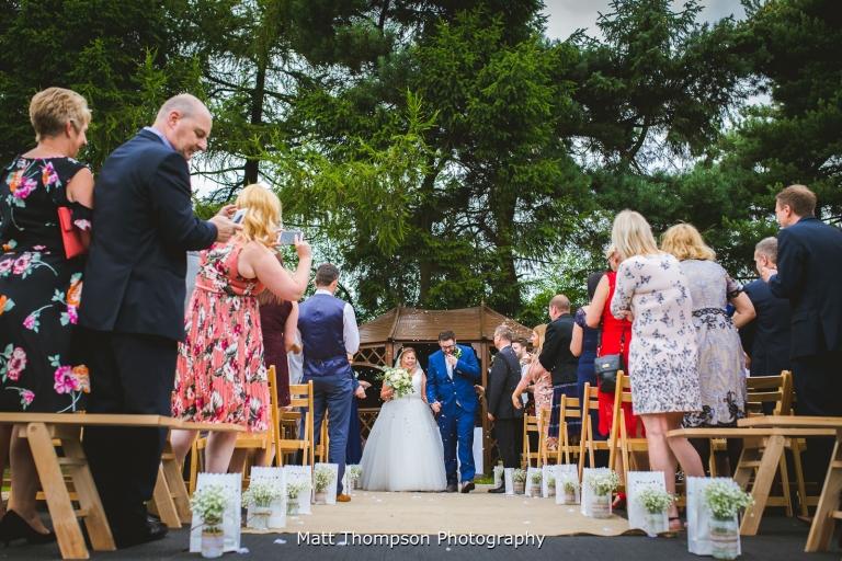 outdoor wedding ceremony at villa farm