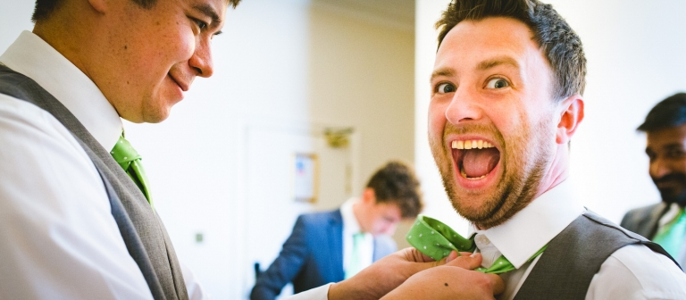 groom excited getting ready in yorkshire