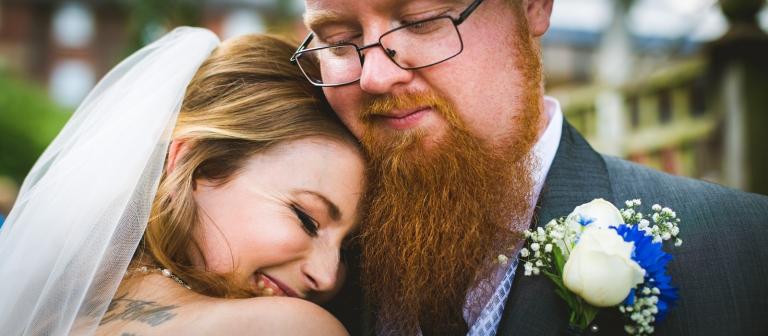 wedding couple cuddling in yorkshire