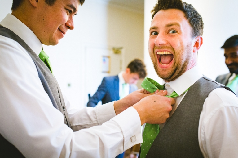 groom excited for yorkshire wedding