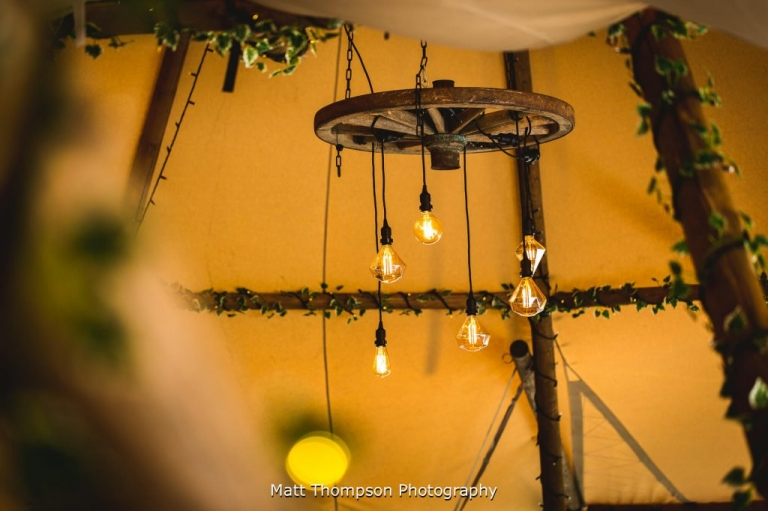 Wedding tipi chandelier